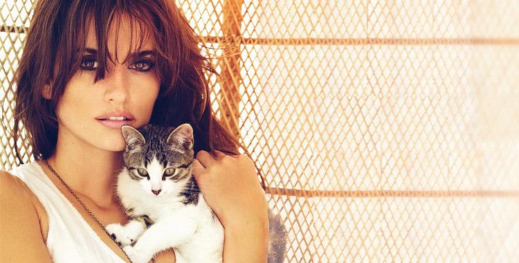 Penelope Cruz et son chat
