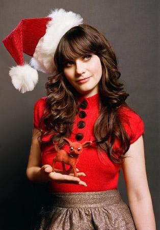 Zoe Deschanel déguisée en mère Noël