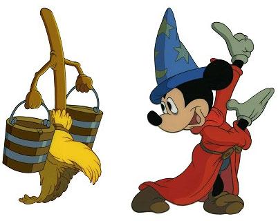 Mickey dans fantasia avec un balai