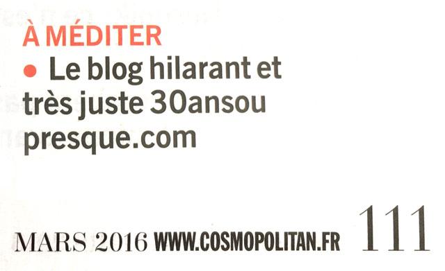On parle du blog 30ansoupresque.com dans Cosmo !
