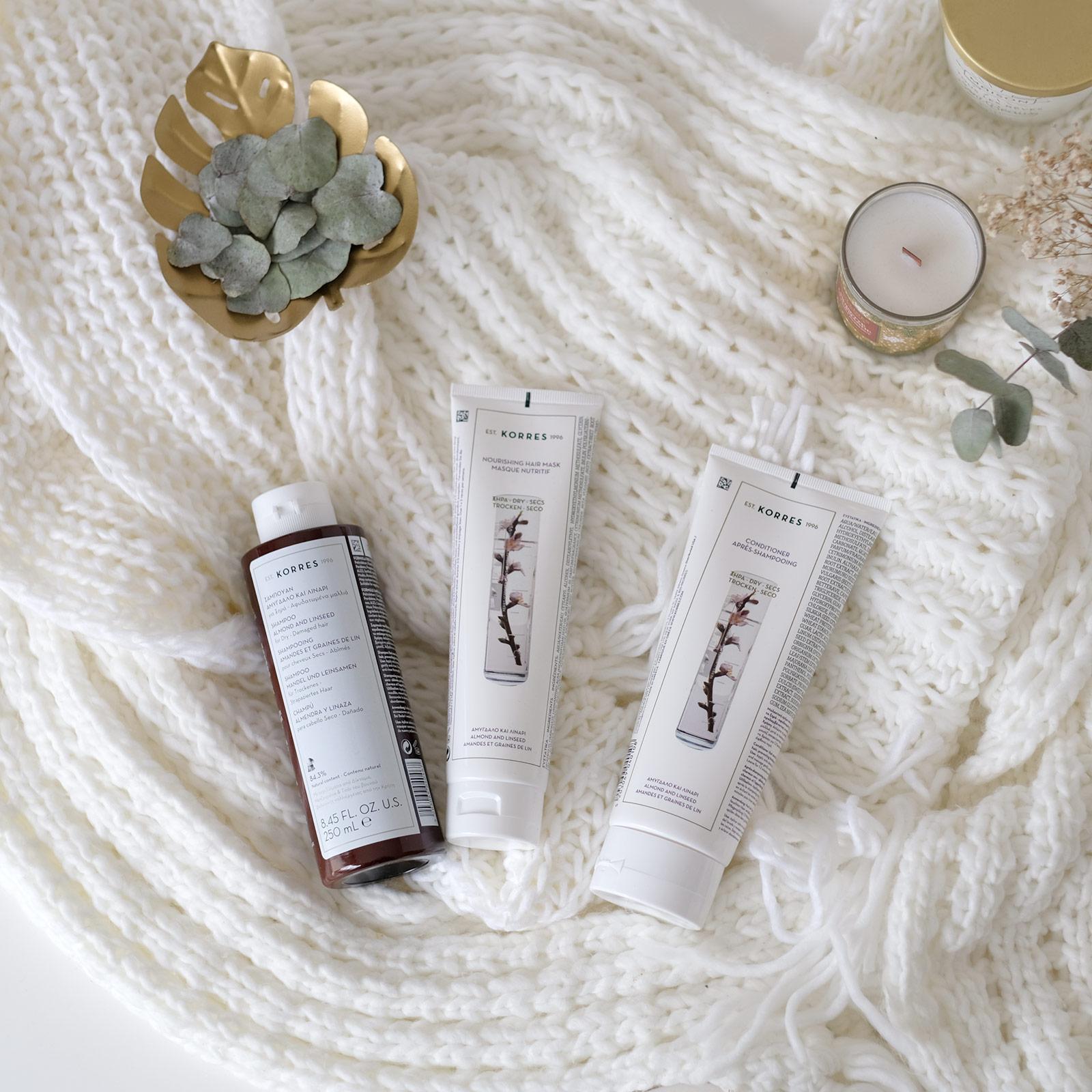 Shampoing et après-shampoing amandes et graines de lin, Korres